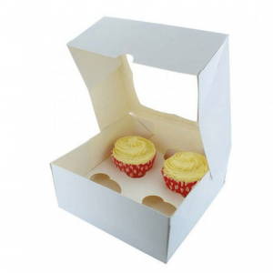White Cupcake Box with Window and Insert